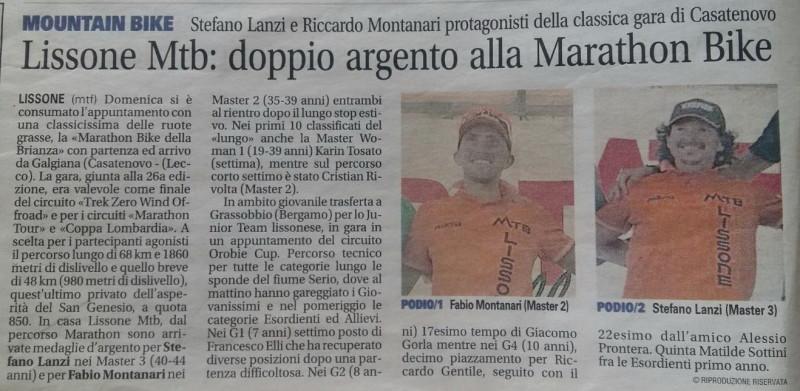 2017.09.05 Giornale di Monza (Marathon Bike)