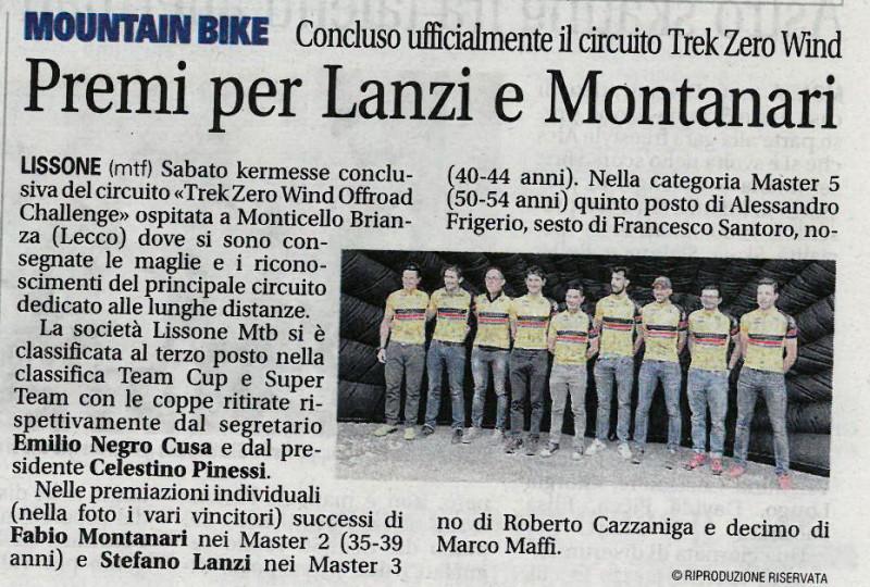 2017.10.24 Giornale di Monza (Premiazioni Trek)