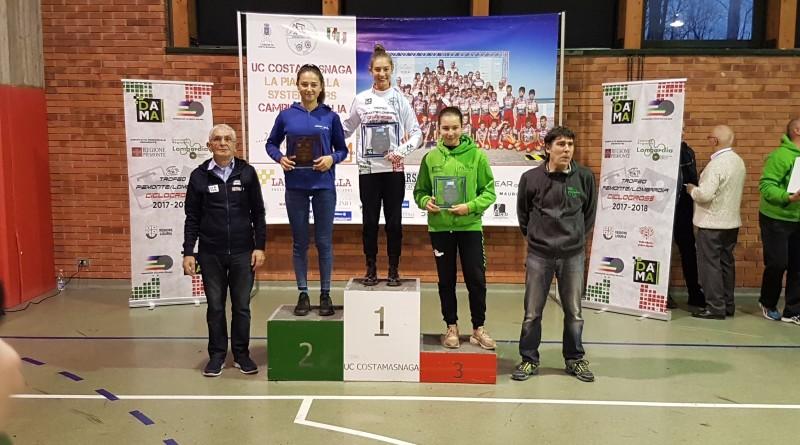 2018.01.14 Bosisio Parini (podio donne Esordienti-Recalcati leader)