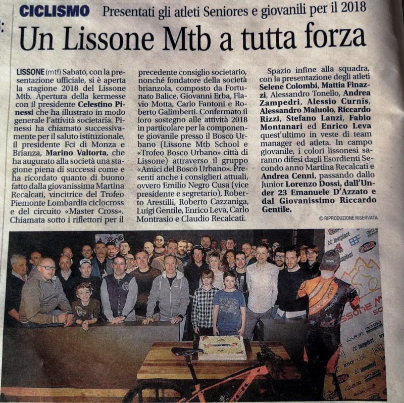 2018.01.30 Giornale di Monza (presentazione stagione 2018)