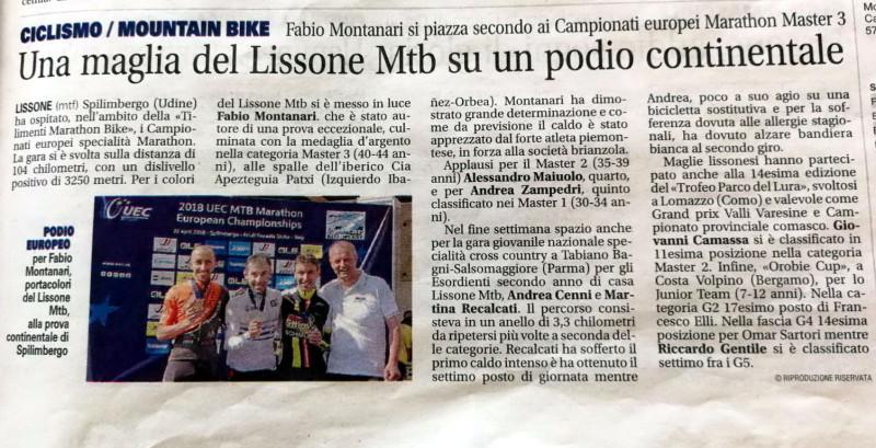 2018.04.24 Giornale di Monza (argento Montanari campionati Europei)
