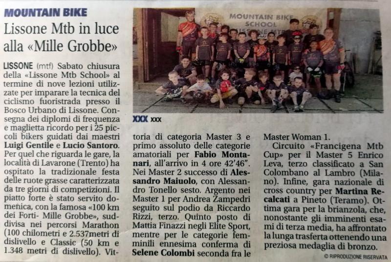 2018.06.12 Giornale di Monza (Lissone MTB School