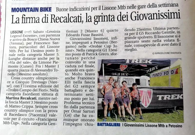 2018.06.26 Giornale di Monza (Giovanissimi)