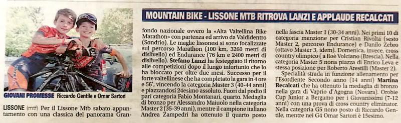 2018.07.31 Giornale Monza (Alta Valtellina,Giovanissimi)