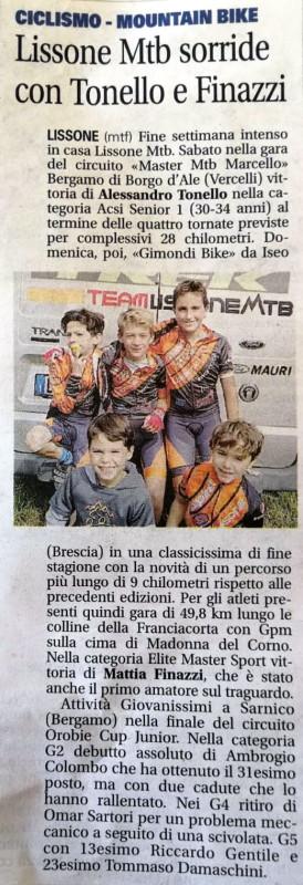 2018.10.02 Giornale Monza (Giovanissimi)