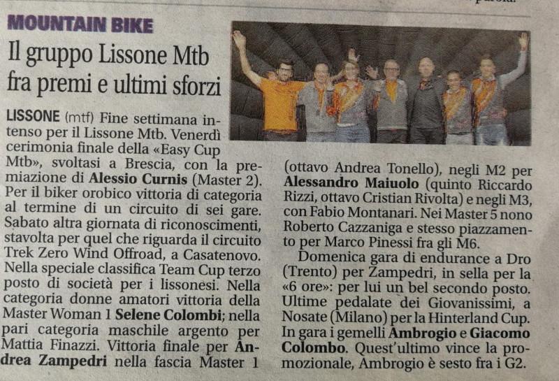 2018.10.23 Giornale di Monza (premiazioni Trek)