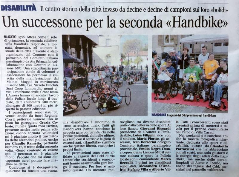 2019.03.26 Giornale di Monza (Hand Bike)